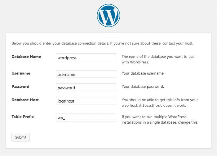 wordpress install page