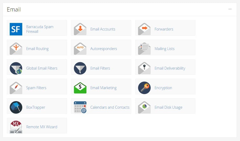 email section in cpanel